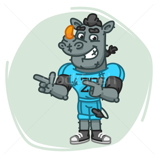 Rhino Football Player Indicates Two Fingers Stock photo © yuriytsirkunov