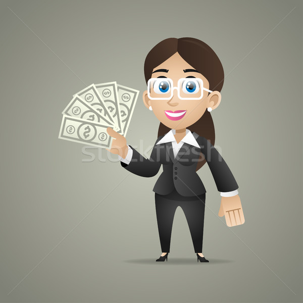 Business woman holds dollar notes in hand Stock photo © yuriytsirkunov