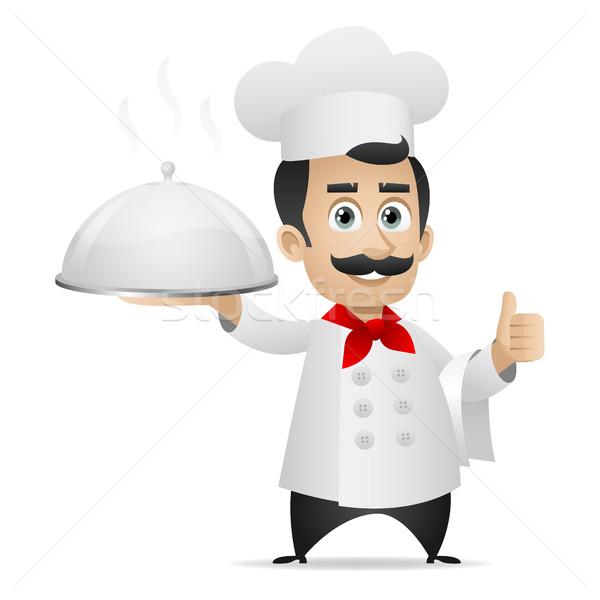 Chef holding tray and shows thumbs up Stock photo © yuriytsirkunov