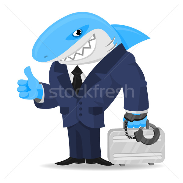 акула бизнеса чемодан наручники иллюстрация формат Сток-фото © yuriytsirkunov
