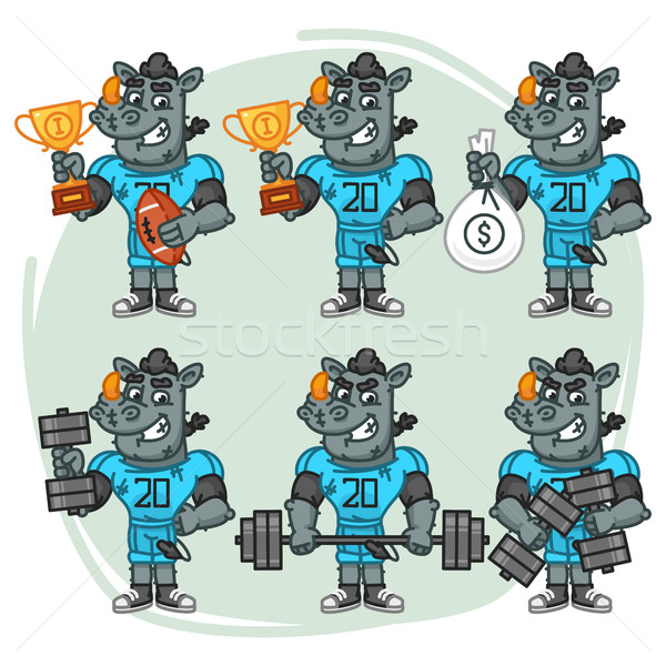 Character Set Rhino Football Player Holds Cup Money Dumbbell Stock photo © yuriytsirkunov