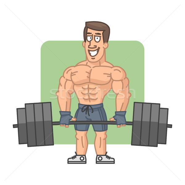 Bodybuilder bilanciere sorridere illustrazione formato eps Foto d'archivio © yuriytsirkunov