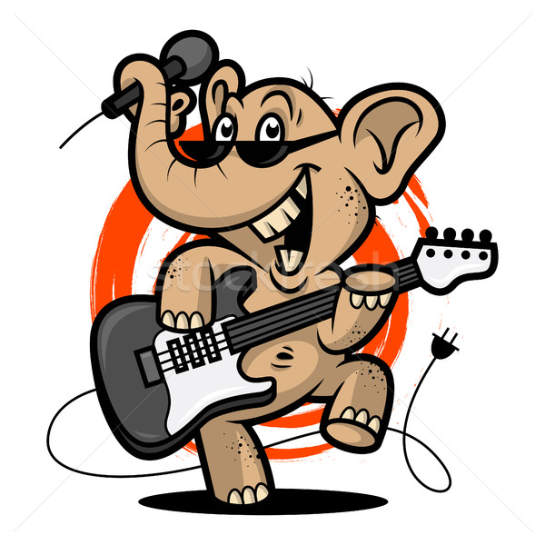 Elephant plays guitar Stock photo © yuriytsirkunov