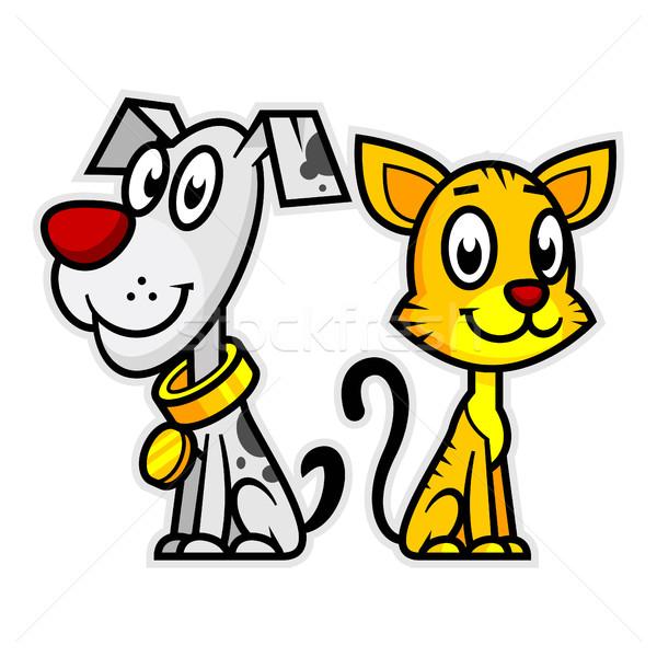 Smiling Dog and Cat Stock photo © yuriytsirkunov