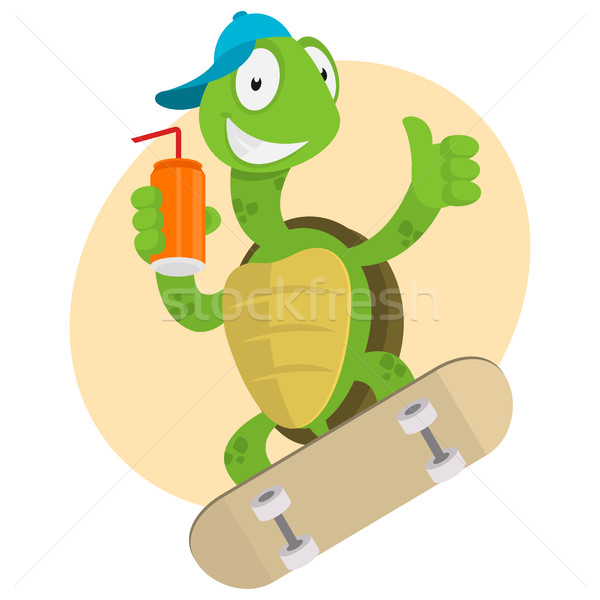 Turtle drinks juice and ride on skateboard Stock photo © yuriytsirkunov