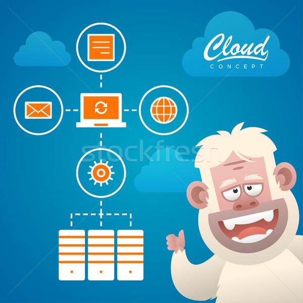 Wolke Arbeit Optimierung Zeichen Illustration formatieren Stock foto © yuriytsirkunov