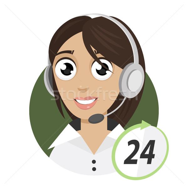 少女 電話 演算子 コールセンター 24 実例 ストックフォト © yuriytsirkunov