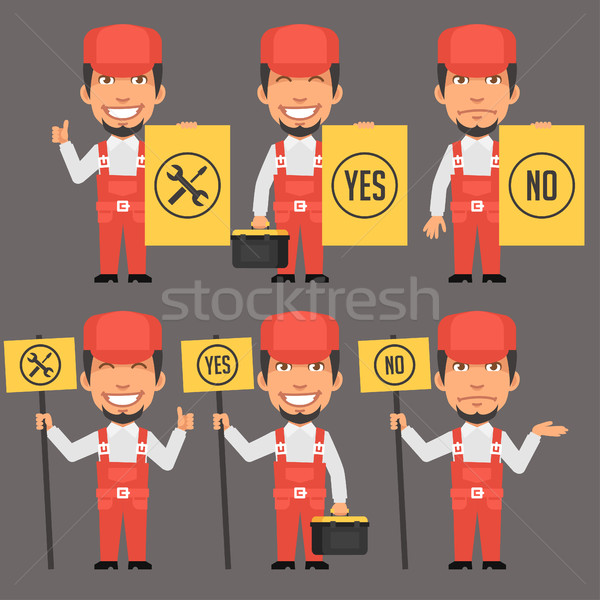 Repairman Holds Different Signs Stock photo © yuriytsirkunov