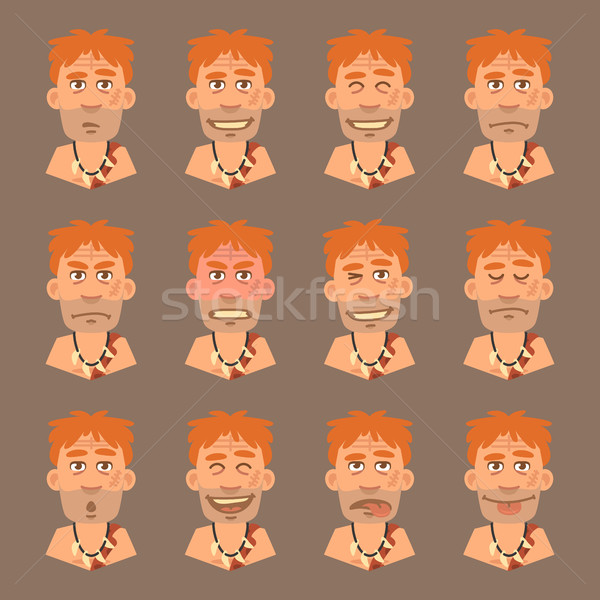 Set Emotions Neanderthal Stock photo © yuriytsirkunov