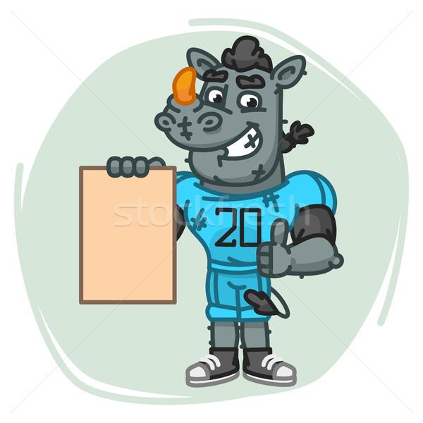 Rhino футболист бумаги талисман характер Сток-фото © yuriytsirkunov