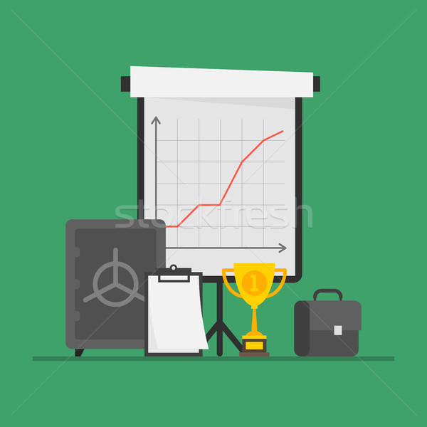 Concept Business Flip Chart Cup Suitcase Safe Note Pad Stock photo © yuriytsirkunov