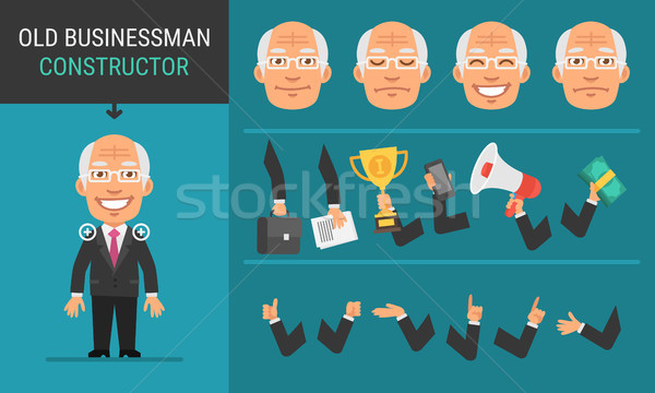 Constructor Character Old Businessman Stock photo © yuriytsirkunov