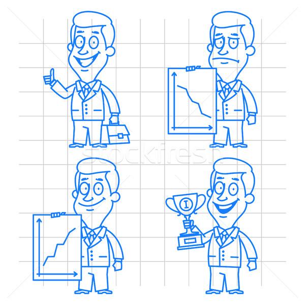 Doodle zakenman succes mislukking illustratie formaat Stockfoto © yuriytsirkunov
