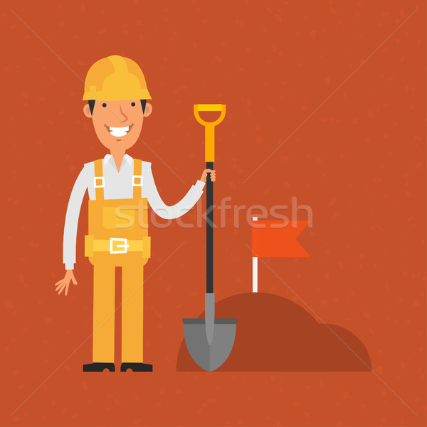 Constructor pala sonriendo ilustración formato Foto stock © yuriytsirkunov