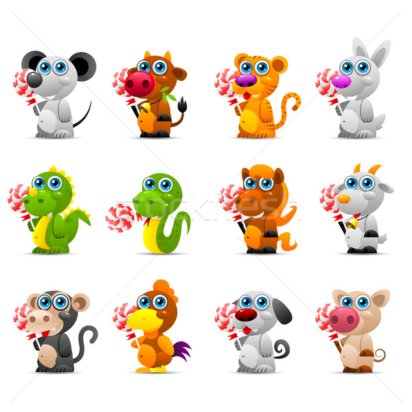 Chinese horoscoop dier speelgoed suiker snoep Stockfoto © yuriytsirkunov