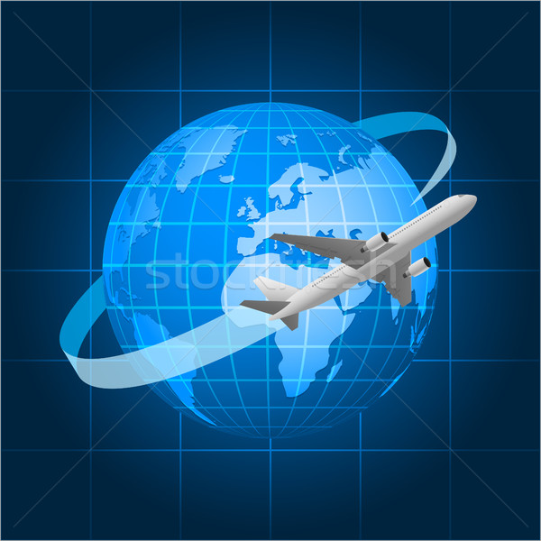 Globe and passenger aircraft Stock photo © yuriytsirkunov