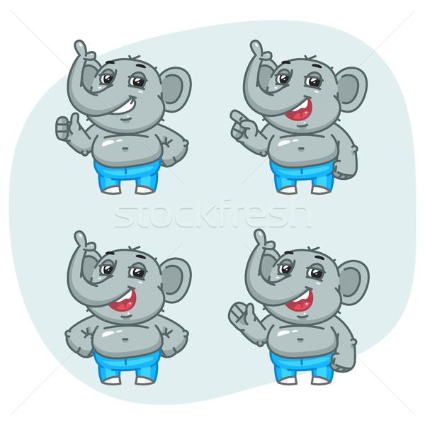 Elephant Shows and Indicates Character Set Stock photo © yuriytsirkunov