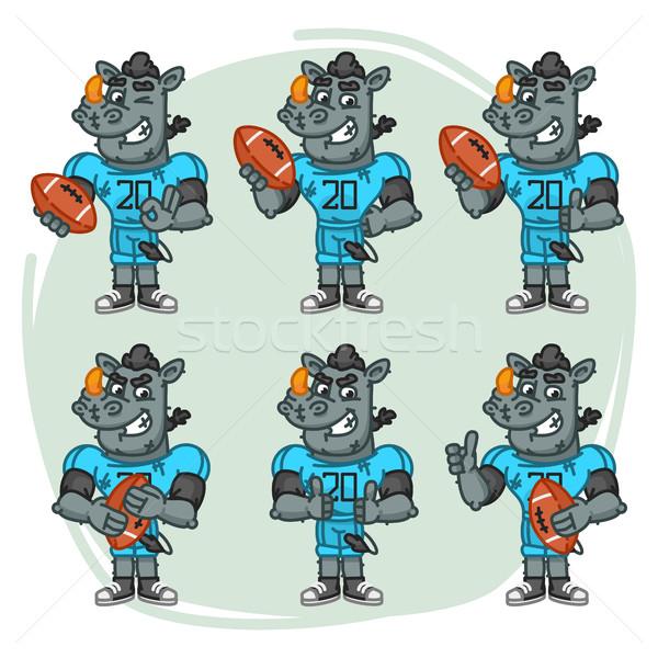 Zeichen Set rhino Fußballspieler rechteckige Ball Stock foto © yuriytsirkunov