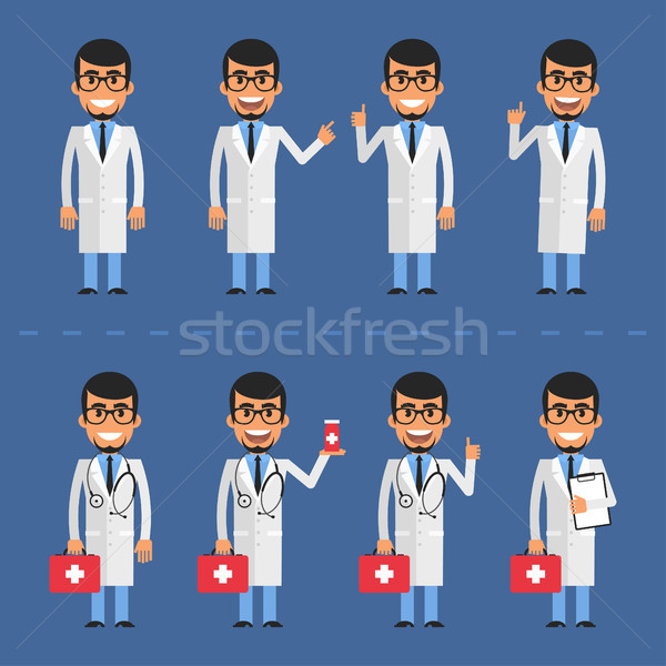 Doctor character in various poses Stock photo © yuriytsirkunov