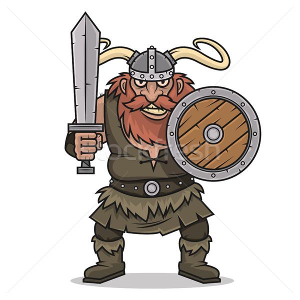 öfkeli viking durmak kılıç kalkan örnek Stok fotoğraf © yuriytsirkunov