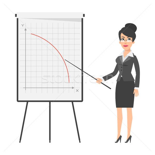 ストックフォト: 女性実業家 · 下がり · グラフ · 実例 · フォーマット · eps