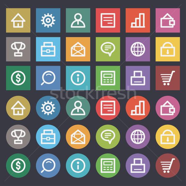 Flat icons set business finance Stock photo © yuriytsirkunov