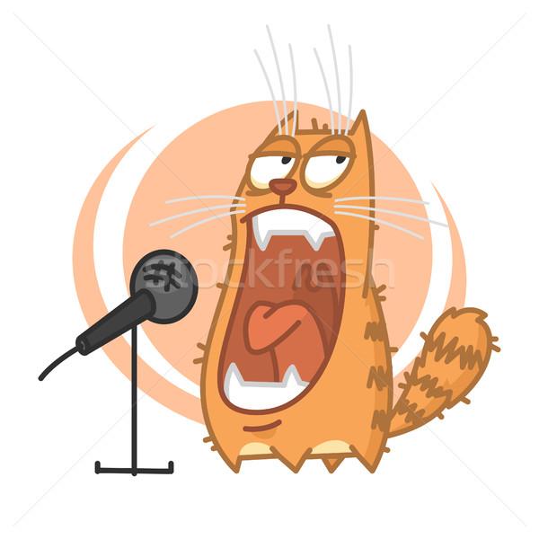 Stock fotó: Piros · macska · mikrofon · illusztráció · formátum · eps