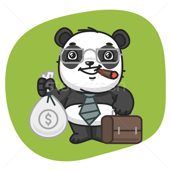 Panda Holds Suitcase and Bag of Money Stock photo © yuriytsirkunov