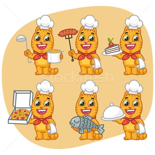 Stockfoto: Ingesteld · kat · karakter · chef