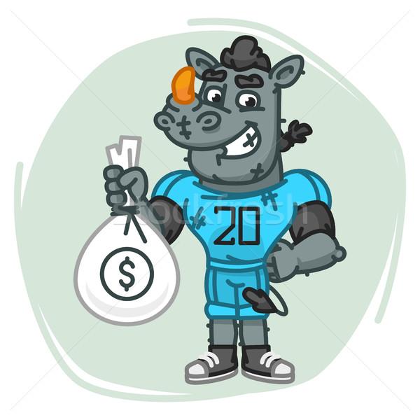 Neushoorn voetballer geld zak mascotte karakter Stockfoto © yuriytsirkunov