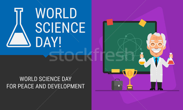 Concept World Science Day Professor and Blackboard Stock photo © yuriytsirkunov