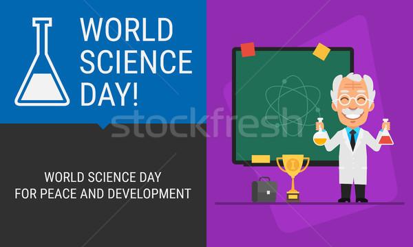 世界 科学 日 教授 黒板 人 ストックフォト © yuriytsirkunov