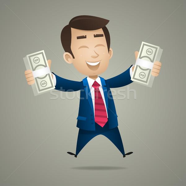 Zakenman hand dollar bankbiljetten illustratie zakken Stockfoto © yuriytsirkunov