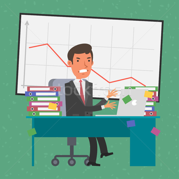 ビジネスマン 座って 表 怒っ 実例 フォーマット ストックフォト © yuriytsirkunov
