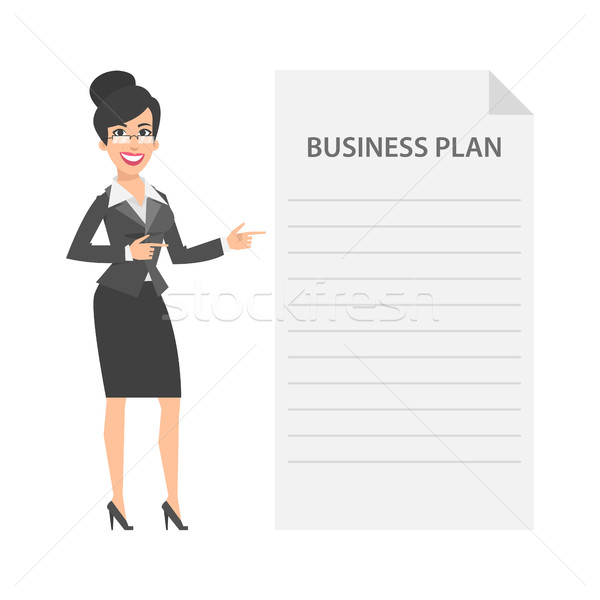 Zakenvrouw business plan illustratie formaat eps Stockfoto © yuriytsirkunov