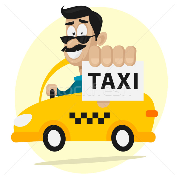 Taxi driver moves by car and smiling Stock photo © yuriytsirkunov