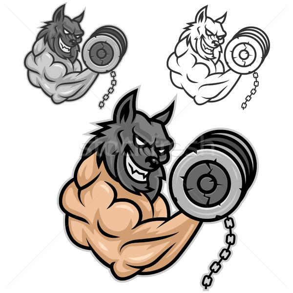 Wolf bodybuilder vector fan Stockfoto © yuriytsirkunov