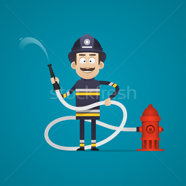 Fireman holds fire hose and smiling Stock photo © yuriytsirkunov