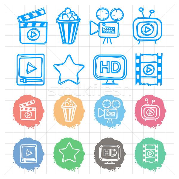 Icons set cinema doodles Stock photo © yuriytsirkunov