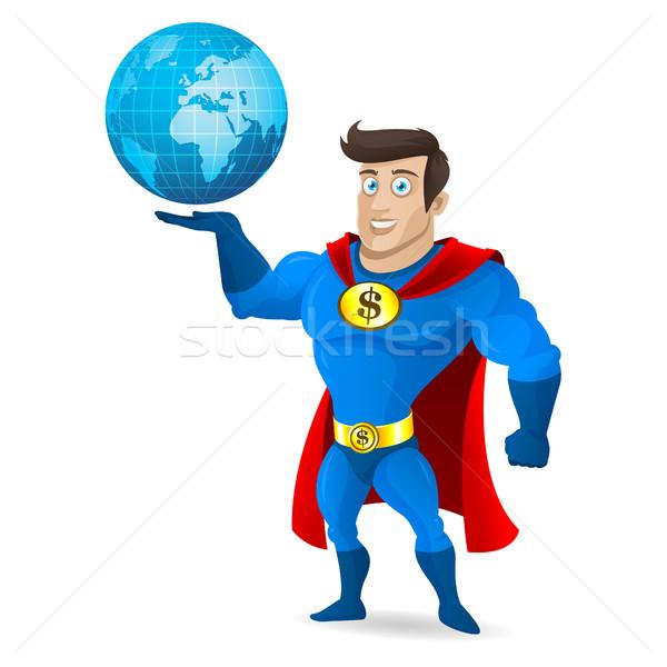 Superhero holds planet earth Stock photo © yuriytsirkunov