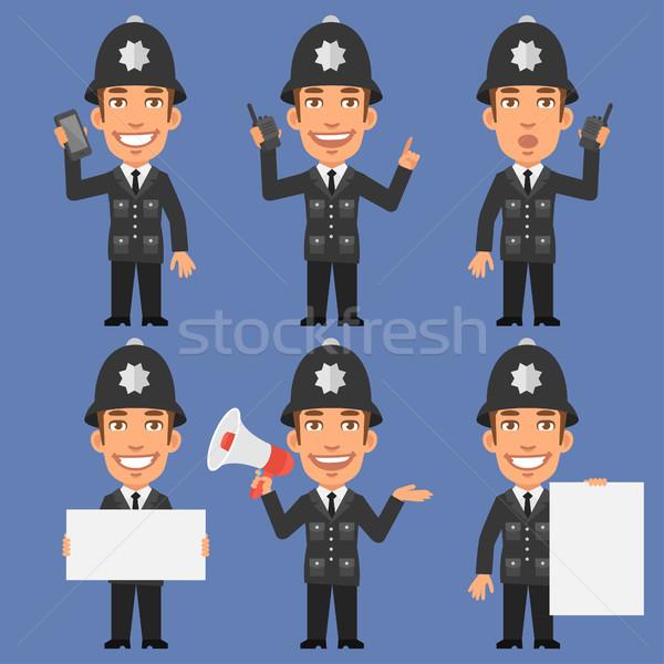 Angol rendőr tart telefon megafon papír Stock fotó © yuriytsirkunov