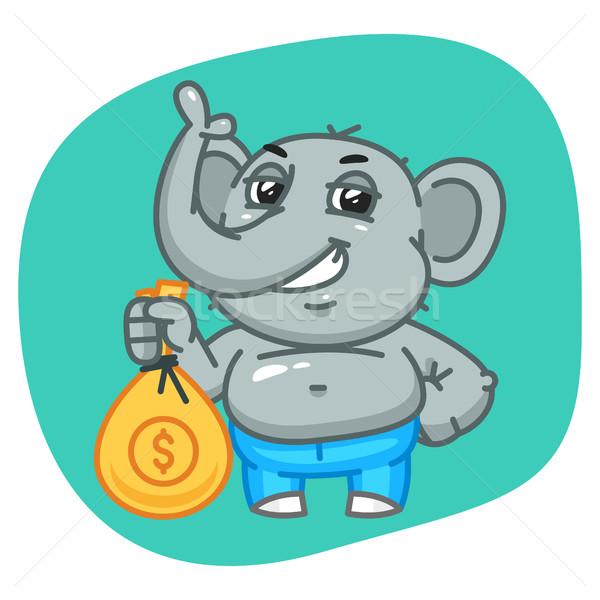 Elephant in Jeans Pants Holding Bag of Money Stock photo © yuriytsirkunov