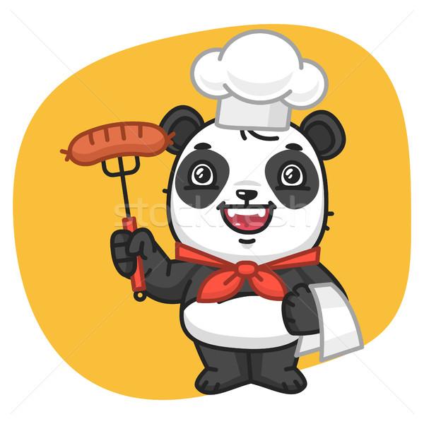 Panda chef tenedor salchicha formato Foto stock © yuriytsirkunov