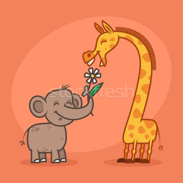 Fil çiçek zürafa örnek format Stok fotoğraf © yuriytsirkunov
