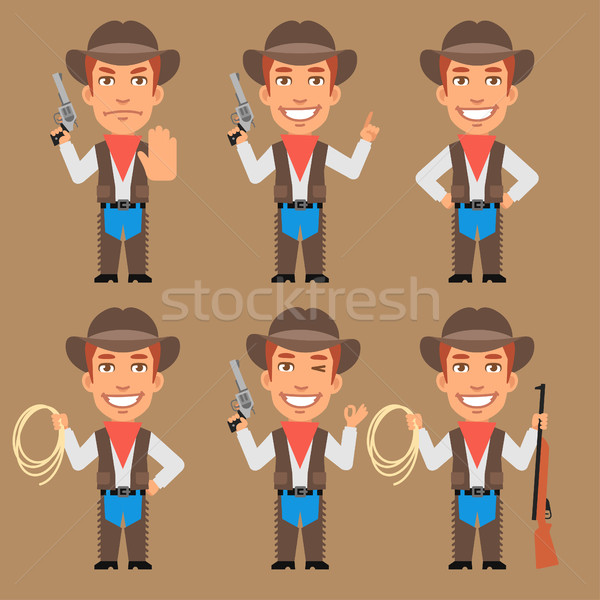 Cowboy Holds Weapons and Rope Stock photo © yuriytsirkunov