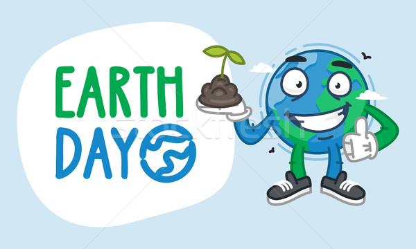 Earth Day Earth Character Holding Handful of Earth Stock photo © yuriytsirkunov