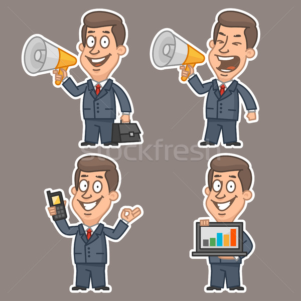 Fun businessman stickers concept set 2 Stock photo © yuriytsirkunov