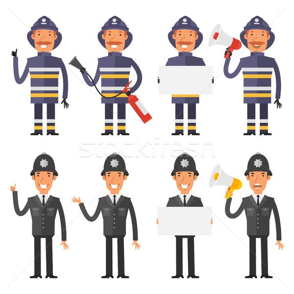 Set characters policeman and firefighter Stock photo © yuriytsirkunov