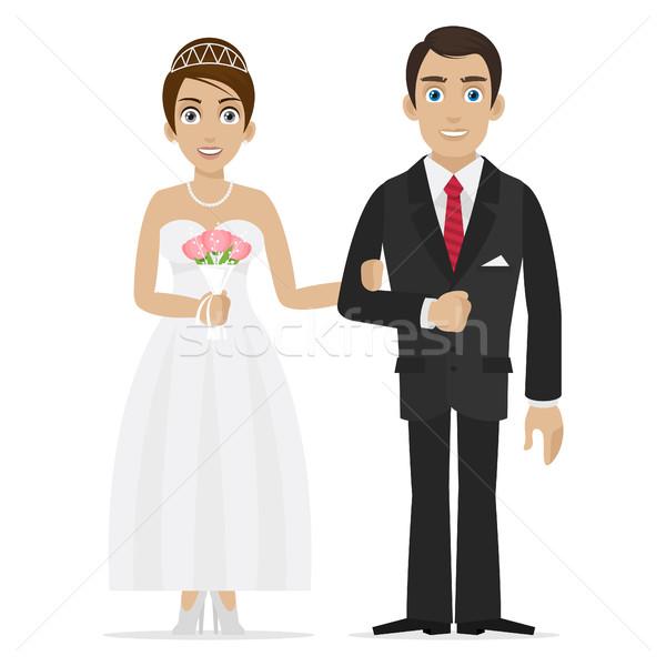 Groom and bride hold hands Stock photo © yuriytsirkunov