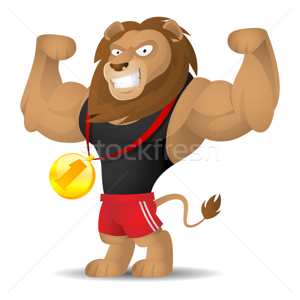 Lion athlète muscles illustration format eps Photo stock © yuriytsirkunov